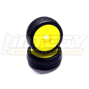 하비몬1/8 Buggy Dish Wheel+Tire (2) V-Pattern 17mm (O.D.=105mm) (Yellow)[상품코드]INTEGY